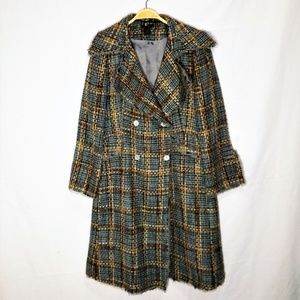Vintage Double Breasted Textured Tweed Over Coat
